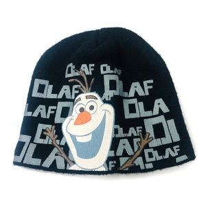 Disney   Olaf Frozen Acrylic Beanie Hat Black EUC